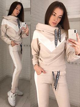 Winter Contrast Color Hoodies Set For Women