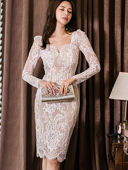 Fashion V Neck Long Sleeve Lace Dress