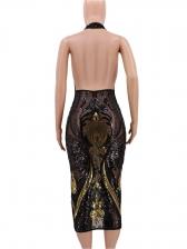 Sexy See Through Sequin Halter Neck Dress