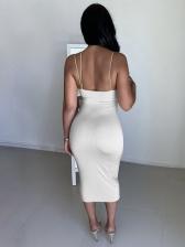Low-Cut Deep v Backless Slip Midi Dress