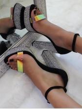 Glitter Tiny Rhinestone Chunky Heeled Platform Sandals