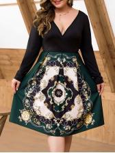 V Neck Printed Long Sleeve A Line Dress