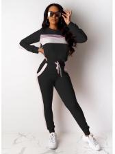 Casual Contrast Color Crew Neck Workout Clothes