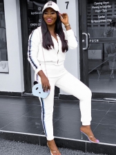 Leisure Side Striped Long Sleeve Ladies Tracksuits