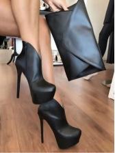 Minimalist Pu Side Zipped Stiletto Heels Platform Boots