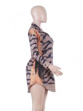 Chic Printed Tassel Decor Long Sleeve Dress