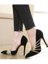 Office Ladies Golden Belt Patchwork Slip On High Heels