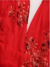 Deep V Neck Backless Floral Lace Romper
