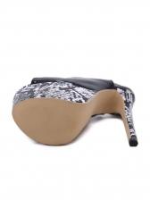Patent Leather Peep Toe Platform Snakeskin Heels