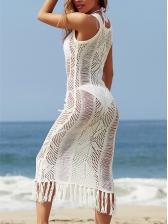 Hollow Out Tassel Decor Sleeveless Midi Dress