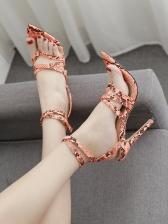 Snake Print Clip Toe Pointed Toe Heel Sandals