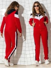 Fleece Zipper Up Colorblock Womens Sportswear