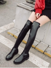 Simple Style Low Heel Pu Black Knee High Boots