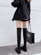 Minimalist Pu All Black Slender Thigh High Boots