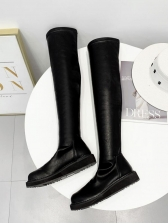 Minimalist Pu All Black Slender Thigh High Boots