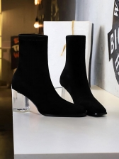 Simple Style Suede Perspex Transparent Heel Black Boots