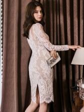 Fashion V Neck Long Sleeve Lace Dress