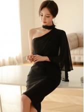 One Shoulder Halter Fitted Black Dress