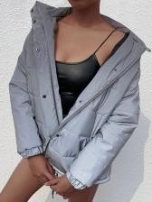 Hooded Collar Reflective Women's Winter Coats