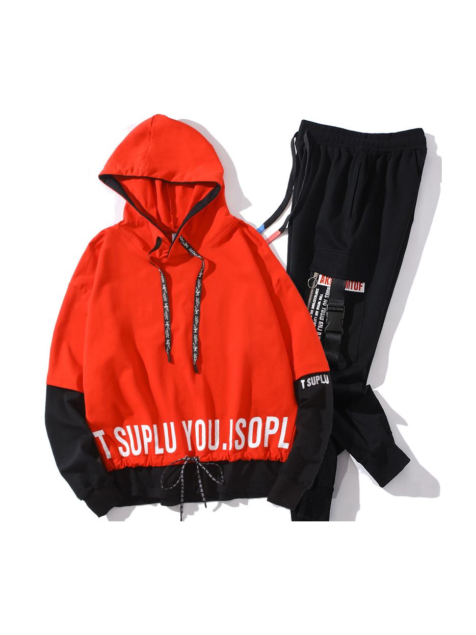 Letter Contrast Color Hooded Mens Activewear