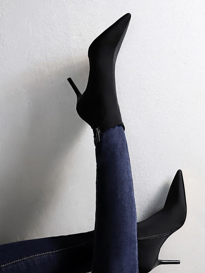 Minimalist Stiletto Heel Pointed Toe Black Ankle Boots