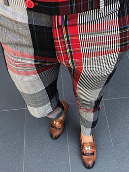 Casual Smart Waist Mens Plaid Pants