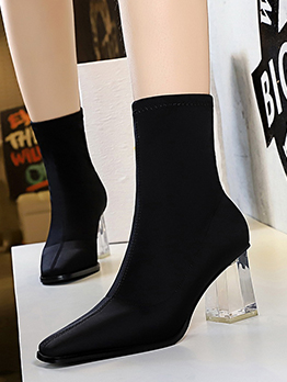 Transparent Chunky Heel Square Toe Winter Black Boots