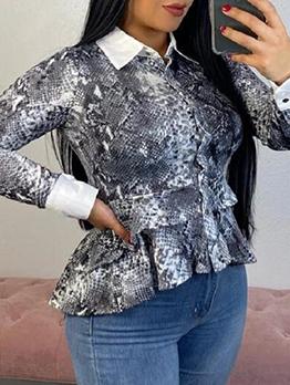 Snake Skin Printed Ruffled Hem Ladies Blouse