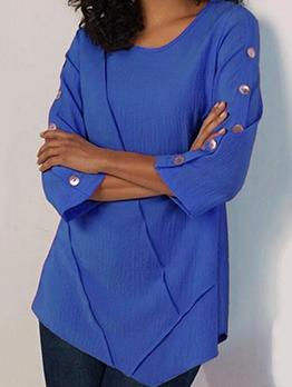 Crew Neck Long Sleeve Plus Size T-Shirt For Women