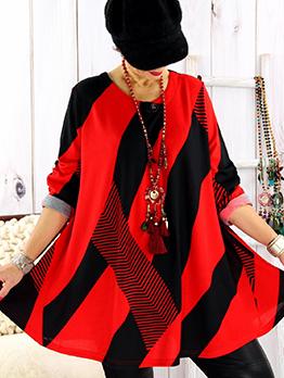 Contrast Color Large Hem Womens t Shirt