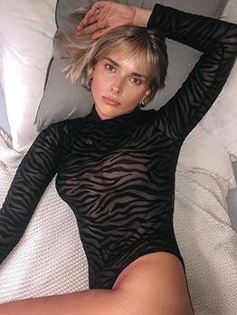 Irregular Stripes Mock Neck Gauze Black Bodysuit
