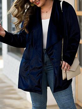 Solid Pockets Casual Loose Long Coat