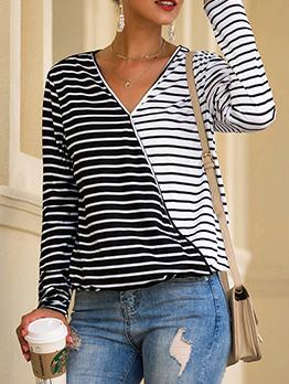 Versatile Contrast Color Striped Patchwork Cool t Shirts