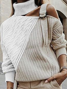Contrast Color Turtle Neck Cut Out Sweater