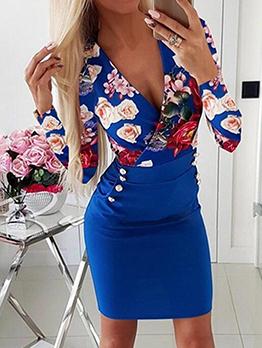 V Neck Fitted Long Sleeve Floral Dress