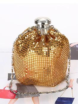 Glitter Sequins Metal Splicing Chain Shoulder Bag