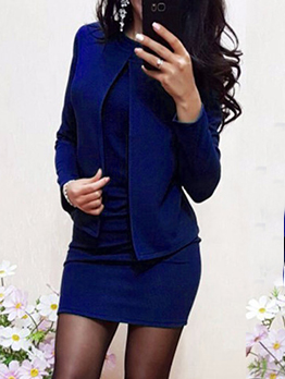 Solid Sleeveless Bodycon Dress With Short Coat