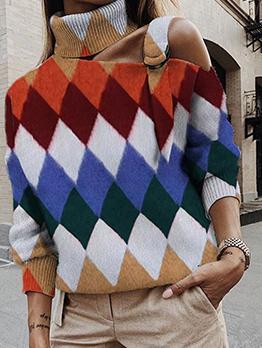 Contrast Color Rhombus Pattern Turtleneck Sweater