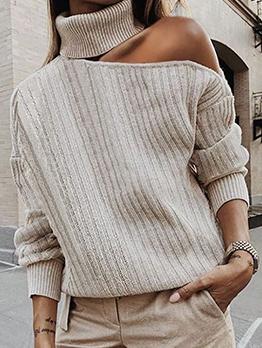 Slim Fit One Shoulder Cut Turtleneck Sweater