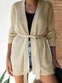 Casual Long Sleeve Tie Wrap Knit Cardigan