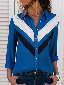 Turndown Collar Contrast Color Ladies Blouse