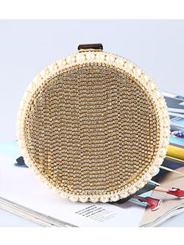 Fashion Diamante Pearls Women Round Chain Bags
