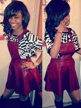 Square Neck Sleeveless Burgundy Suspender Skirt