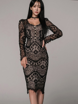 Korean Hook Flower Long Sleeve Lace Dress