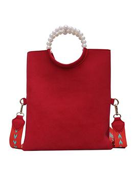 Matt Pu Pearls Handle Wide Belt Large Shoulder Bag