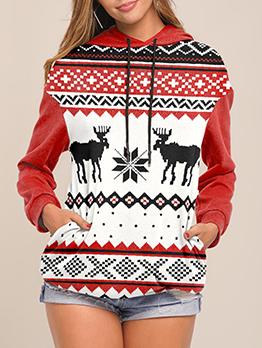 Christmas Deer Printing Loose Pullover Hoodies
