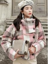 Korean Style Contrast Color Plaid Short Coat