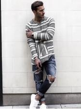 Casual Long Sleeve Mens Striped T Shirt