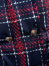 Double-Breasted Plaid Long Sleeve Blazer Dress