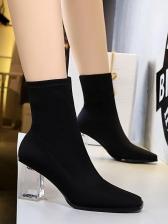 Transparent Chunky Heel Square Toe Winter Black Boots
